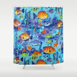Underwater cartoon cute pattern Shower Curtain