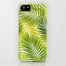 Palm leaf silhouettes seamless pattern. Tropical leaves. iPhone Case