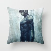 mega man Throw Pillows featuring Mega Real Man by Artgerm™