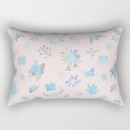 Pastel pink blue green watercolor floral illustration Rectangular Pillow