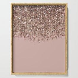 Blush Pink Rose Gold Bronze Cascading Glitter Serving Tray