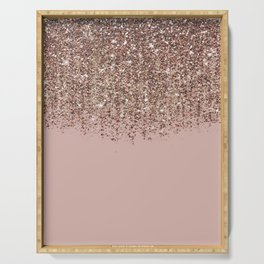 Blush Pink Rose Gold Bronze Cascading Glitter Serving Tray