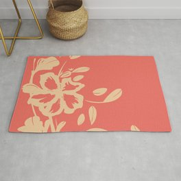 Tropical Flower - Cream Silhouette Over Desert Rose Coral Color Rug