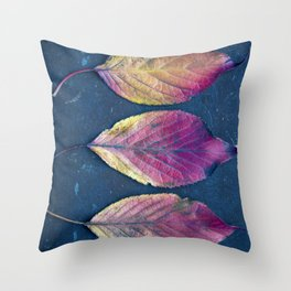 Three Autumn Leaves Throw Pillow