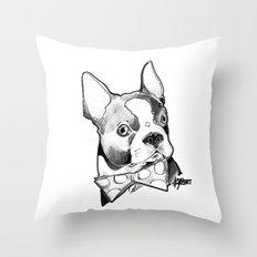 Bow Tie BostonTerrier Black and White Throw Pillow