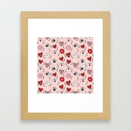 Valentines donuts and coffee cute gifts for love valentine andrea lauren Framed Art Print