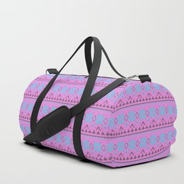 Knitted Christmas pattern, pink blue Duffle Bag
