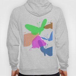 Colorful butterflies on white background Hoody