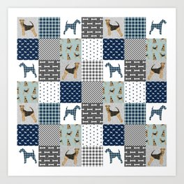 Airedale Terrier pure breed cheater quilt pattern dog lovers by pet friendly Art Print