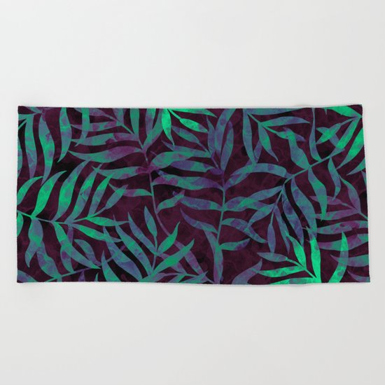 Watercolor Tropical Palm Leaves VII Beach Towel