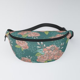 Moody Florals in Teal Fanny Pack