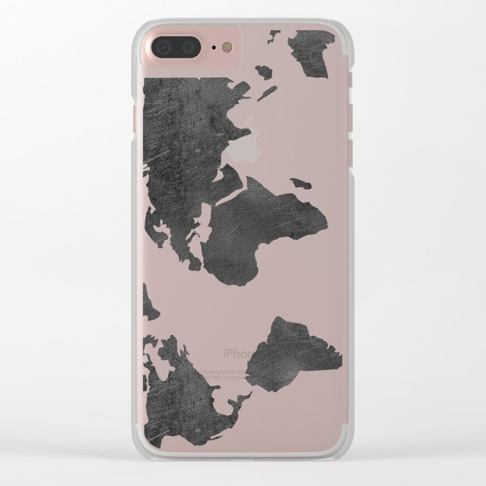 Metallic Graphite Textured World Map Clear iPhone Case