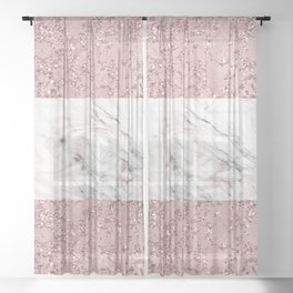 Rose Gold Marble Crackle Mix Sheer Curtain