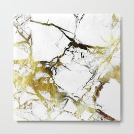 Gold-White Marble Impress Metal Print