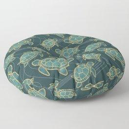 Japanese Pond Turtle / Teal Floor Pillow