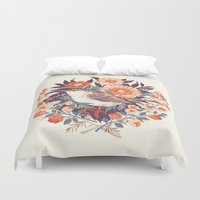 floral Duvet Covers featuring Wren Day by Teagan White
