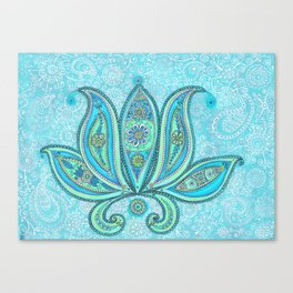 Lotus Blue Painting, Lotus drawing Illustration Canvas Print