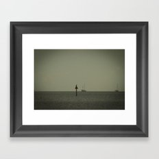 One Bird, Two Boats Framed Art Print