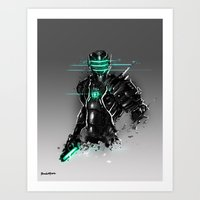 suit Art Prints featuring Omega Suit by Benedick Bana
