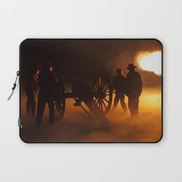 """Artillery Hell"" Night firing of original Civil War 6 lb. bronze canons. Laptop Sleeve"
