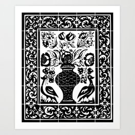 Old portuguese decorative tiles Art Print