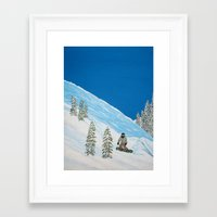 snowboarding Framed Art Prints featuring Snowboarding by N_T_STEELART