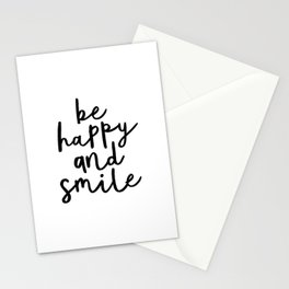 Be Happy and Smile black and white monochrome typography poster design home wall bedroom decor Stationery Cards