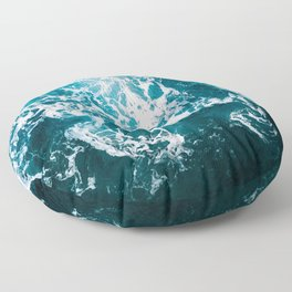 Blue Wave Network – Minimalist Oceanscape Photography Floor Pillow