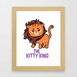 The Kitty King Lion long mane wig cute cartoon Framed Art Print