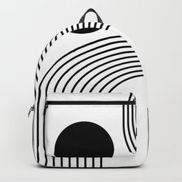 Modern Minimalist Line Art in Black and White Backpack