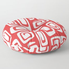 Mid Century Modern Cosmic Abstract 612 Red Floor Pillow