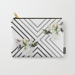 White Flowers & Squares Carry-All Pouch