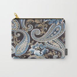 Blue Brown Vintage Paisley Carry-All Pouch