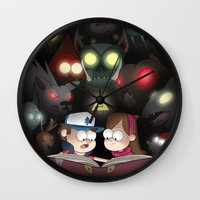 gravity falls Wall Clocks featuring Gravity Falls - Monster Manual by Bex M