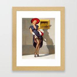 Retro Pin-Up Girl Framed Art Print