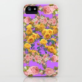 PINK & YELLOW SPRING ROSE GARDEN LILAC PURPLE VIGNETTE iPhone Case