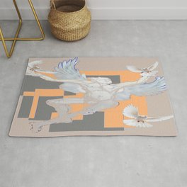 Abstract Angel With Birds Grey Art Rug