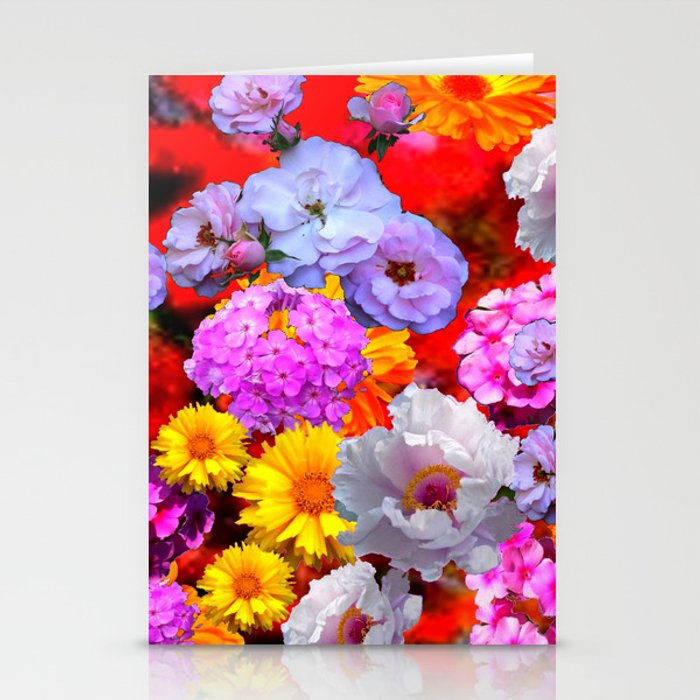 PINK-YELLOW-WHITE FLOWERS ON RED Stationery Cards