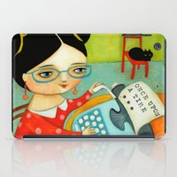 writer iPad Cases featuring The writer of stories by tascha