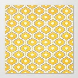 Stylized Ikat Pattern / Yellow & Gray Canvas Print