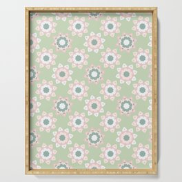 Pastel Daisies Allover Style Seamless Pattern Serving Tray