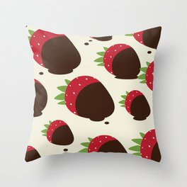 Chocolate Covered Strawberries Throw Pillow