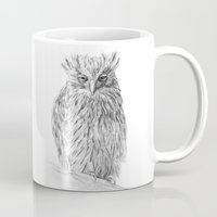 buffy Mugs featuring The Buffy Fish Owl by Asya Mitskevich
