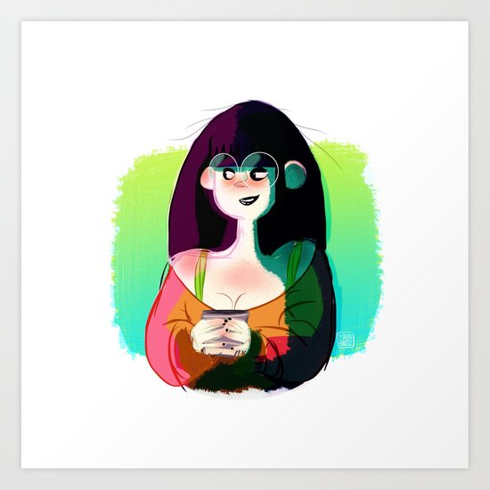 Girl with cup Art Print