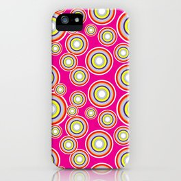 Circles on pink background iPhone Case