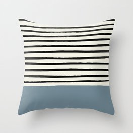 Dusty Blue x Stripes Throw Pillow