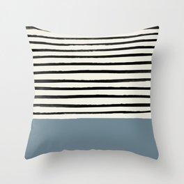 Dusty Blue x Stripes Throw Pillow