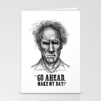 clint eastwood Stationery Cards featuring CLINT EASTWOOD  by Ani Dvaladze