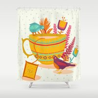 cup Shower Curtains featuring My cup of tea by Kakel