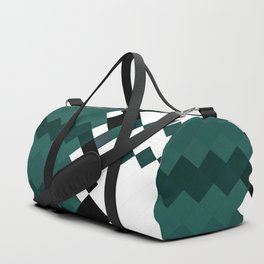 Emerald Green White Black Geometrical Pattern Duffle Bag